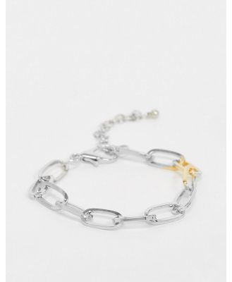 DesignB bracelet in mixed metal with oval links-Multi