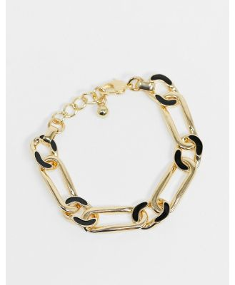 DesignB chain bracelet in gold with black enamel detail-Multi