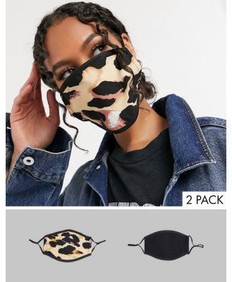 DesignB London 2 pack face covering with adjustable straps in black and abstract leopard print-Multi