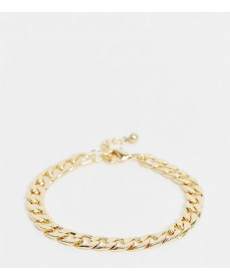 DesignB London Curve chunky chain anklet in gold
