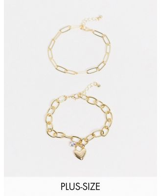 DesignB London Curve chunky chain bracelet with heart charm in gold tone