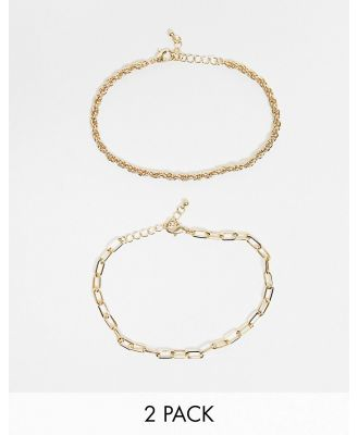 DesignB London Curve Exclusive anklet multipack in gold with twisted and chunky chains