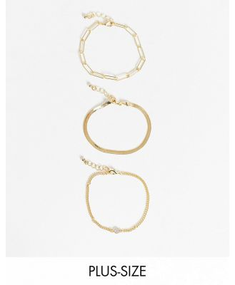 DesignB London Curve Exclusive bracelet multipack x 3 with fine and chunky chain in gold