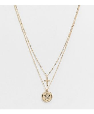 DesignB London Curve Exclusive multirow necklace with coin and cross pendant in gold