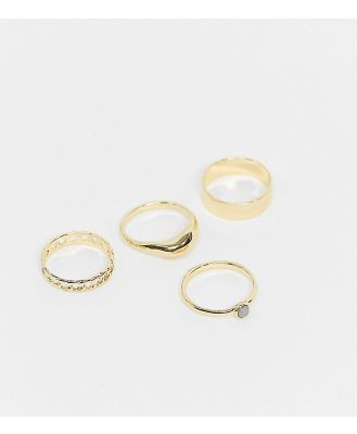 DesignB London Curve stacking ring multipack in gold