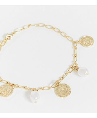 DesignB London Exclusive anklet in pearl and crystal-Gold
