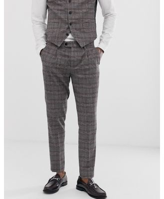 Devils Advocate skinny fit brown check cropped suit pants