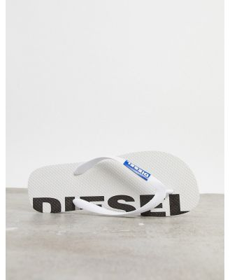 Diesel logo thongs in white