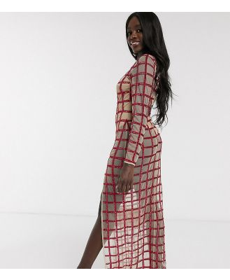 Dolly & Delicious exclusive embellished grid thigh split maxi dress with bodysuit underlay in pink