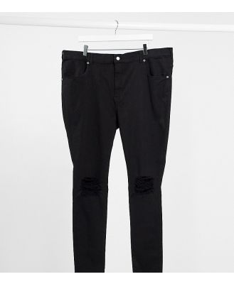 Dr Denim Plus Lexy mid-rise super skinny jeans with ripped knees in black