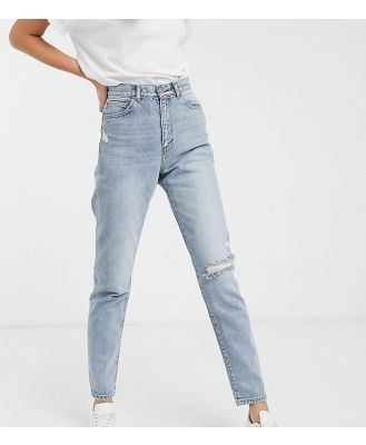 Dr Denim Tall Nora high rise mom jean with rip in blue-Black