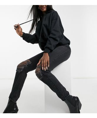 Dr Denim Tall Nora skinny jeans with knee rips in black