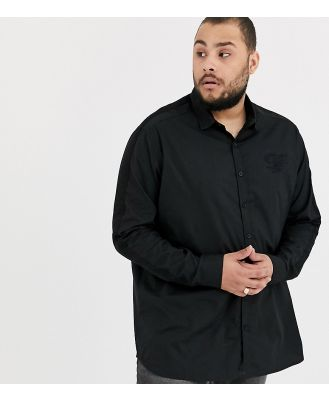 Duke king size stretch shirt with sleeve taping and chest embroidery in black
