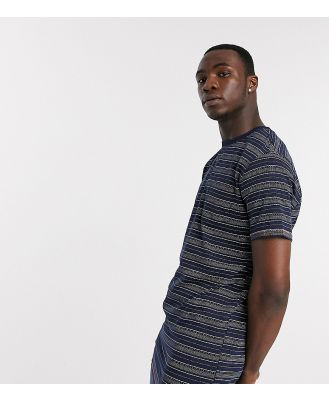 Duke Tall printed Stripe T-Shirt With Chest Pocket-Blue
