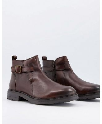Dune ankle boots with buckle strap in brown leather