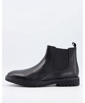 Dune chunky chelsea boots in black leather