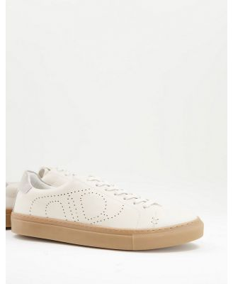 Dune eco minimal lace up sneakers in white leather