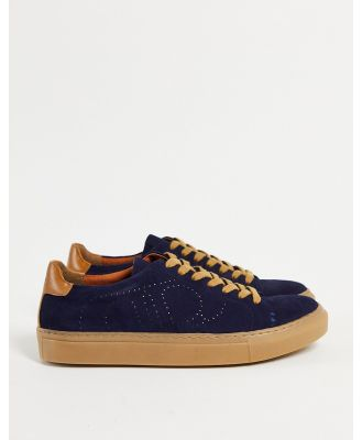 Dune eco minimal lace-up trainers in navy leather