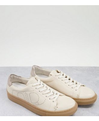 Dune Eco Wide Fit minimal lace-up sneakers in white leather