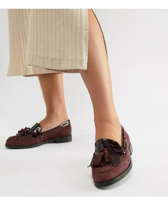 Dune Flat Wide Fit Suede Loafers - Red
