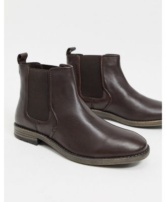 Dune formal chelsea boots in brown leather
