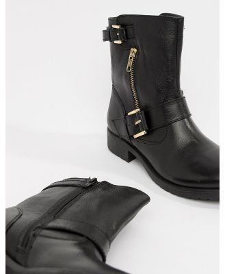 Dune Ripp Leather Ankle Boots - Black
