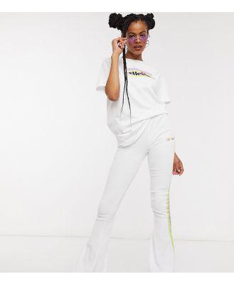 Ellesse skinny flares in velvet with rainbow taping co-ord-White