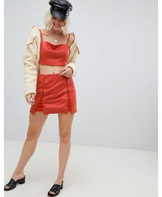 Emory Park mini skirt with lace up detail in faux snake co-ord - Red
