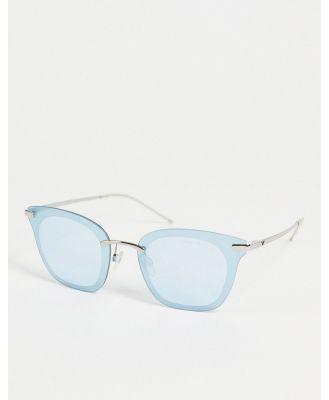 Emporio Armani cat eye sunglasses in baby blue-Silver