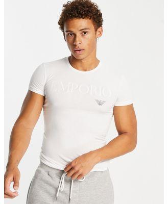 Emporio Armani Loungewear text logo lounge t-shirt in white