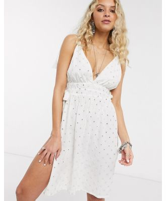 En Crème cami dress with tie sides in metallic spot broderie-White