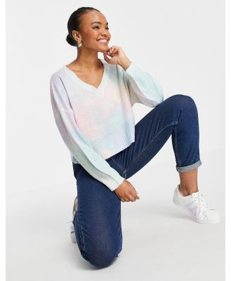 En Crème cropped knitted jumper in rainbow tie dye-Multi