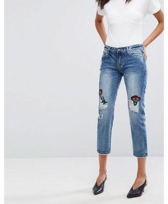 EVIDNT Floral Patch Slim Leg Jeans - Blue