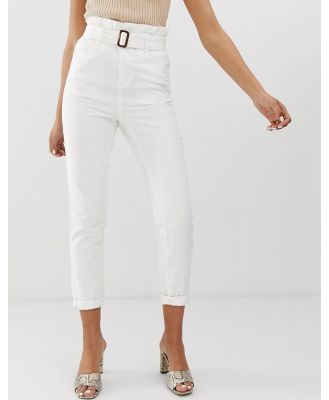 FAE paperbag buckle waist mom jeans - White
