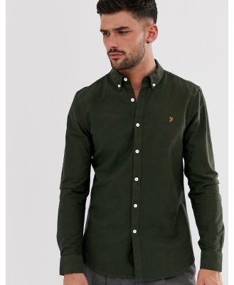 Farah Brewer slim fit oxford shirt in green