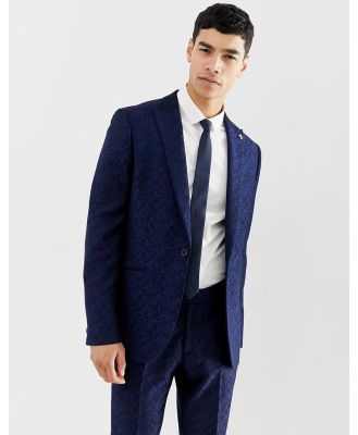 Farah Hookstone party skinny suit jacket in floral jacquard-Navy