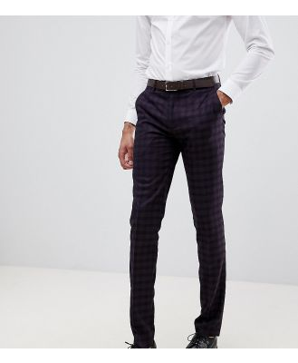 Farah Hurstleigh skinny fit check suit pants in burgundy-Red