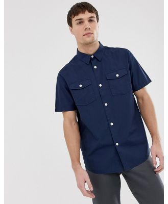 Farah Llena relaxed fit short sleeve pocket shirt in navy