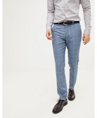 Farah skinny smart pants in check texture-Blue
