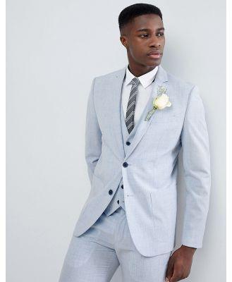 Farah skinny wedding suit jacket in cross hatch-Blue