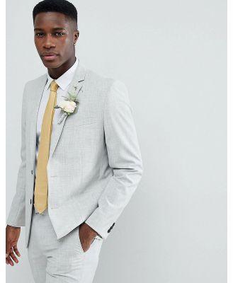 Farah skinny wedding suit jacket in cross hatch-Grey
