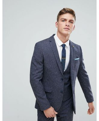 Farah Skinny Wedding Suit Jacket In Navy Fleck