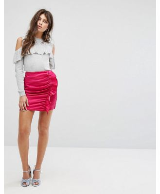 Fashion Union Mini Skirt With Ruffle Gathers In Luxe Fabric - Pink