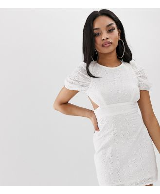 Fashion Union Petite mini dress with lace up back - Cream