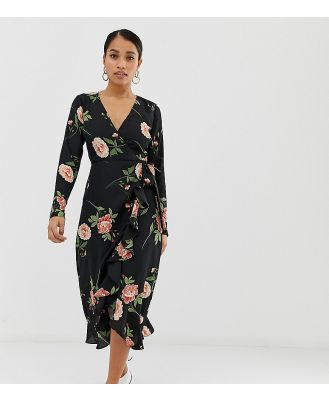 Fashion Union Petite wrap midi dress in oversize floral - Black