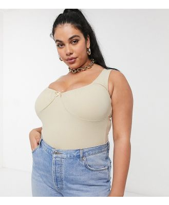 Fashion Union Plus crop top with ruched bust co-ord-Neutral