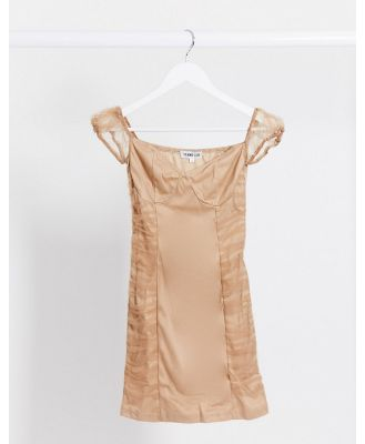 Femme Luxe organza ruched mini dress in tan-Brown