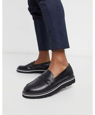 Feud London leather loafer in black/snake