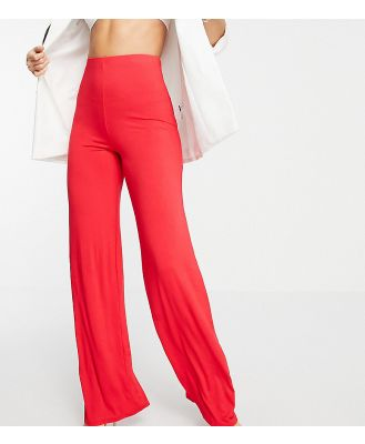 Flounce London Tall high waisted wide leg pants in red