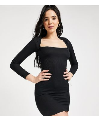 Flounce Tall scoop neck ribbed mini dress in black